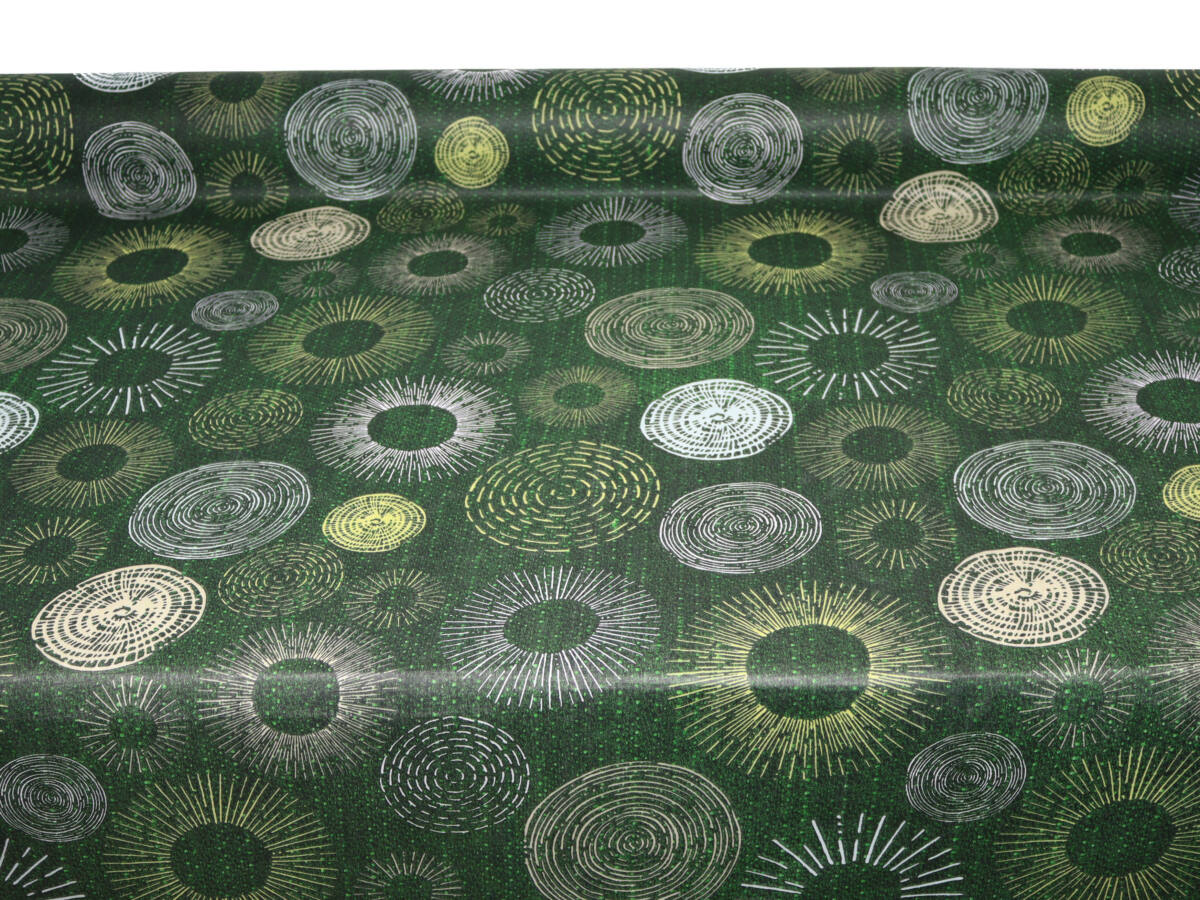 Zöld karika mintás terítő