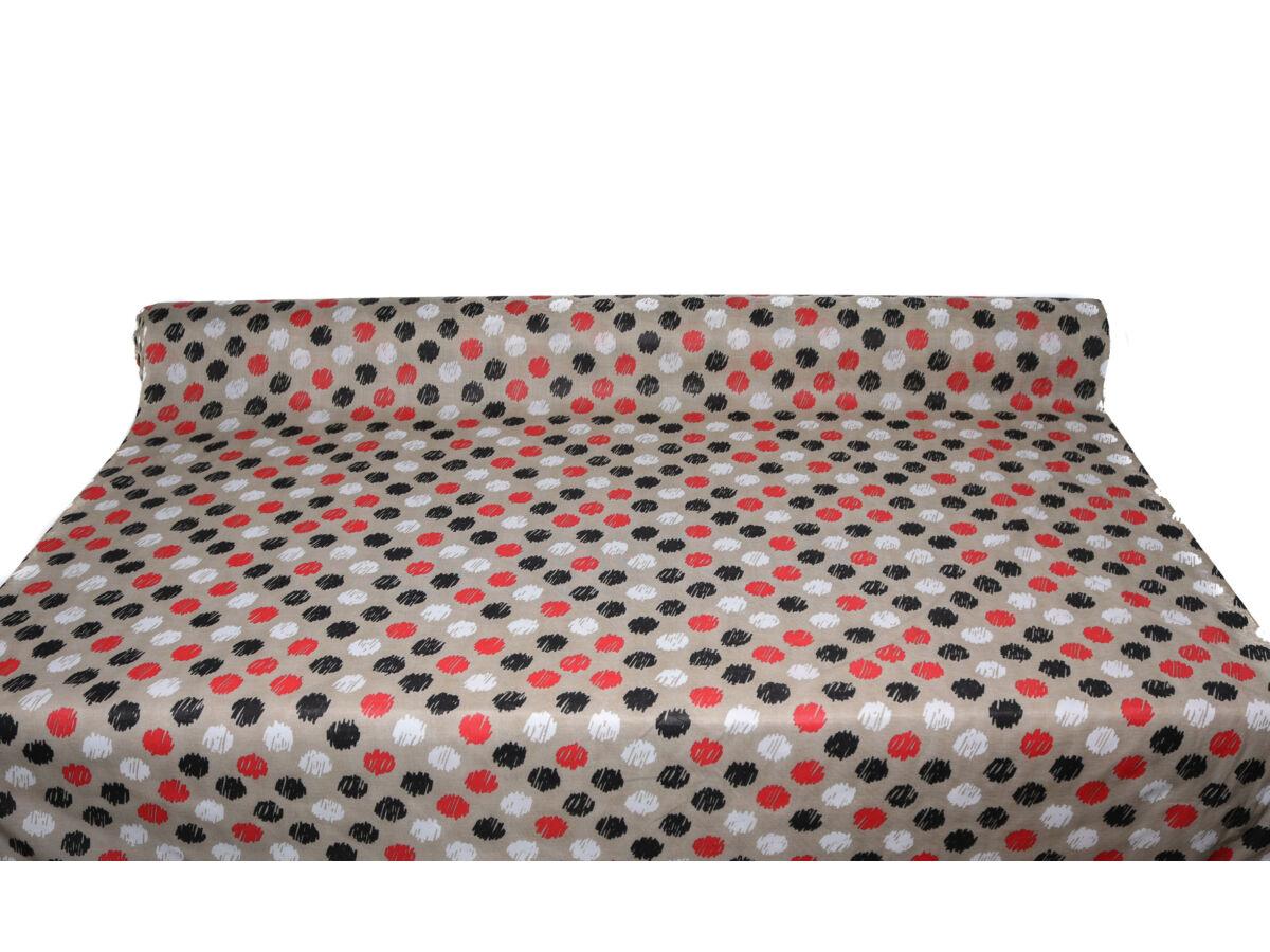 Piros-fekete pötty mintás pamutpolyester alapanyag
