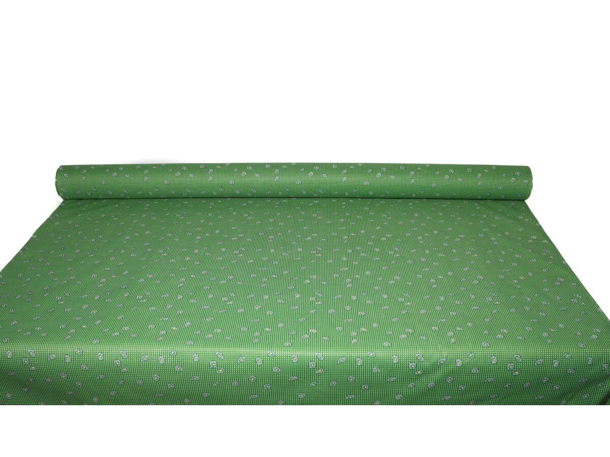 Zöld Margaréta mintás pamutpolyester alapanyag