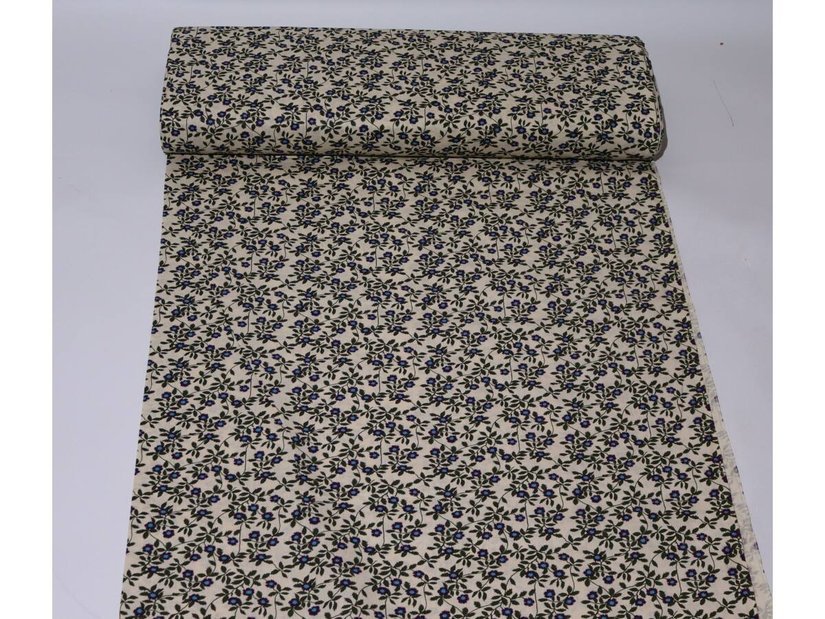 Pamut vászon - Fekete kék virágos