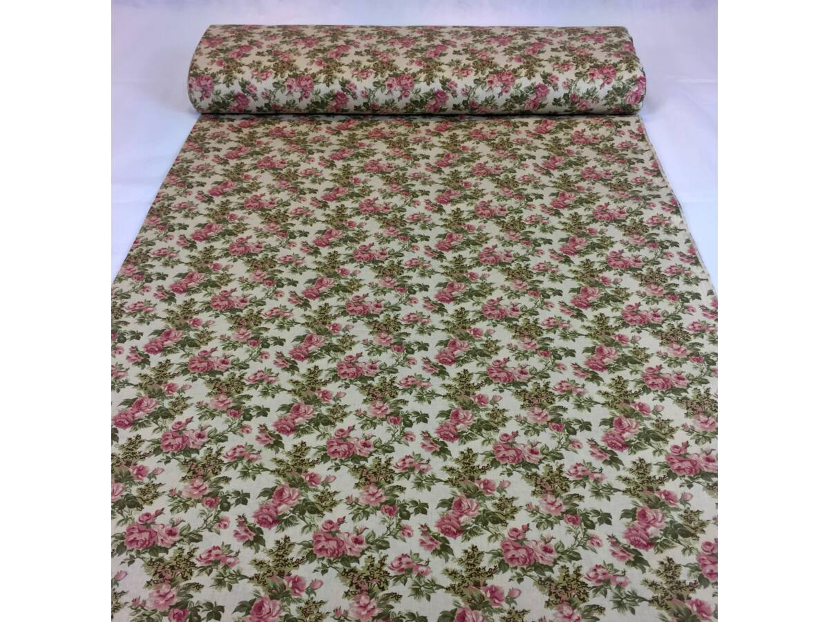 Pamut vászon - Rózsa mintás