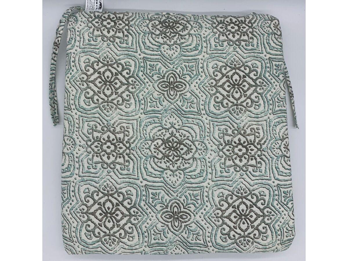 Marokkói mintás zöld kötős ülőpárna