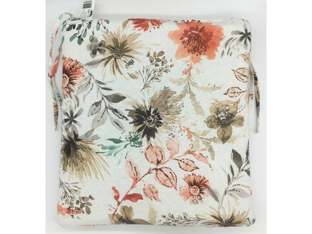 Virág barna kötős ülőpárna
