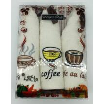 Konyharuha kávé mintával, 3 db-os kiszerelésben (48 cm)