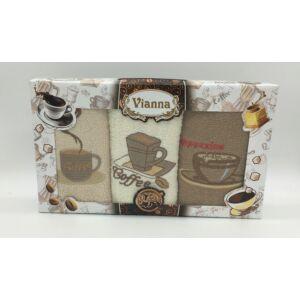 Kéztörlő 30x50 cm hímzett  3 db-os Cappuccino