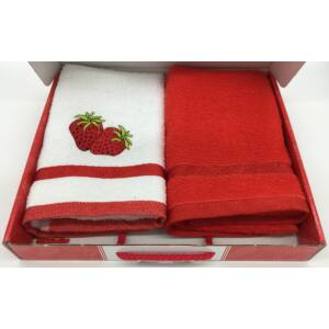 Kéztörlő piros-eper, 2db-os 40x60 cm
