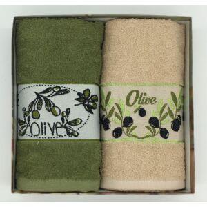Kéztörlő Olíva szöld-vbarna, 2 db-os kiszerelésben (50x70 cm)