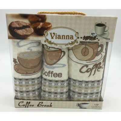 Konyharuha 35x50 cm hímzett  3 db-os Kávé