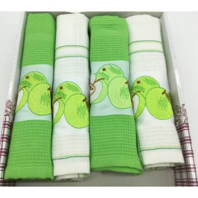 Konyharuha Zöld-fehér 4db-os Almák