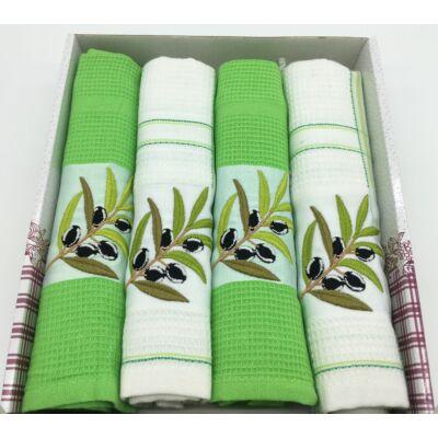 Konyharuha Zöld-fehér 4db-os Olíva