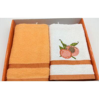 Kéztörlő narancs-barack, 2 db-os 40x60 cm