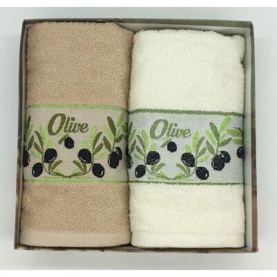 Kéztörlő Olíva vbarna-fehér, 2 db-os kiszerelésben (50x70 cm)