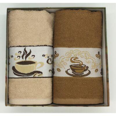 Kéztörlő Kávés vbarna-barna, 2 db-os kiszerelésben (50x70 cm)