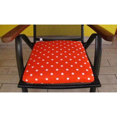 Pöttyös Sötét narancs alapú kötős ülőpárna 38 x 41 x 5 cm