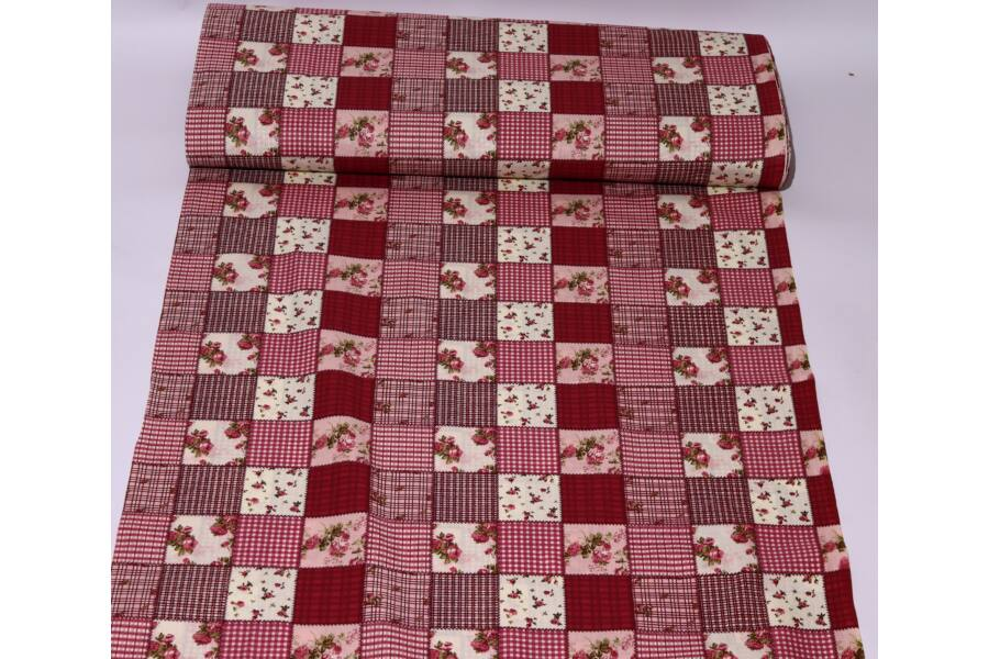Pamut vászon - Bordó kockás virágos