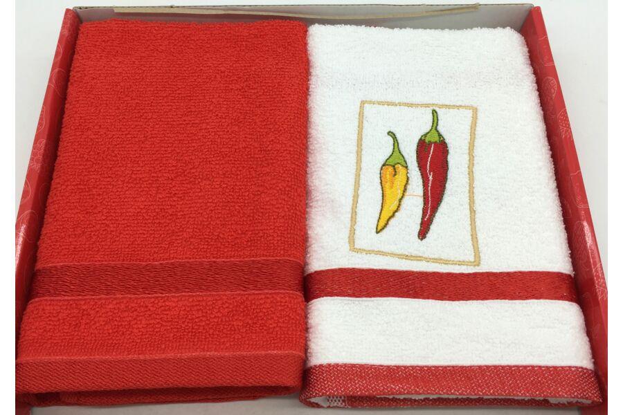 Kéztörlő piros-hegyes, 2db-os 40x60 cm
