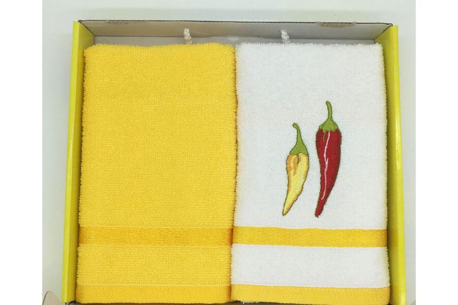 Kéztörlő sárga-paprika, 2 db-os 40x60 cm