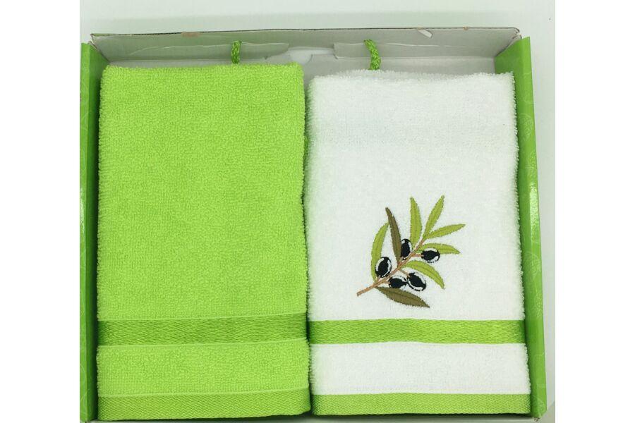 Kéztörlő zöld-olíva, 2-db-os 40x60 cm