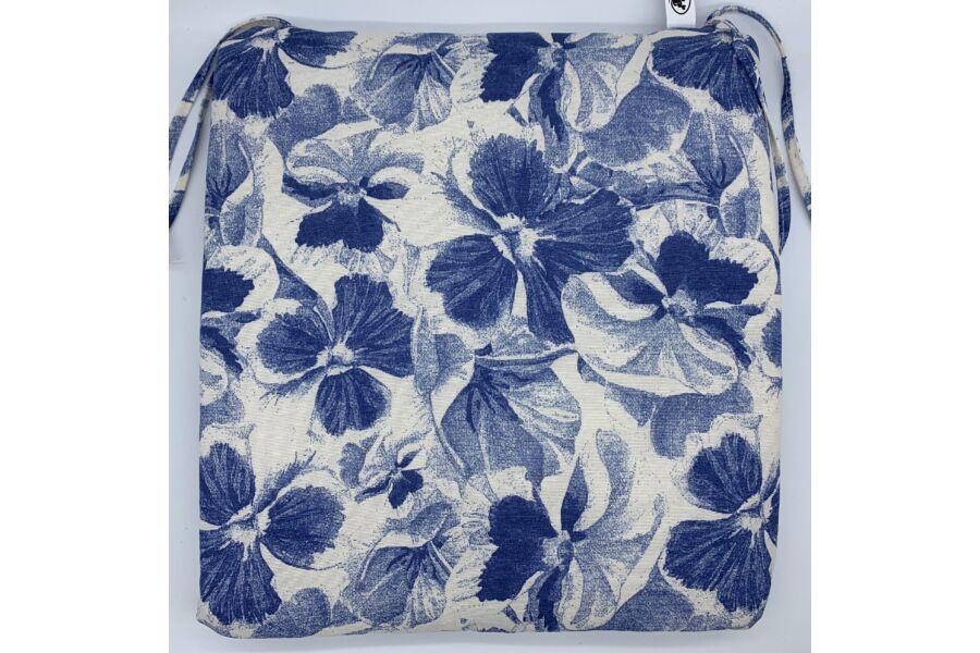 Kék virág kötős ülőpárna