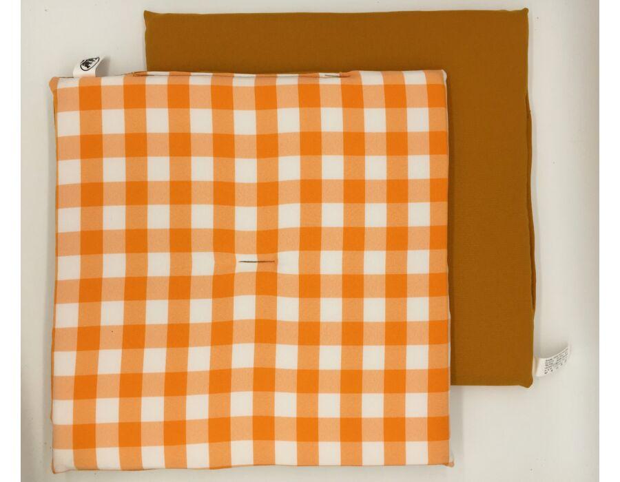 Narancs kockás kétoldalú ülőpárna