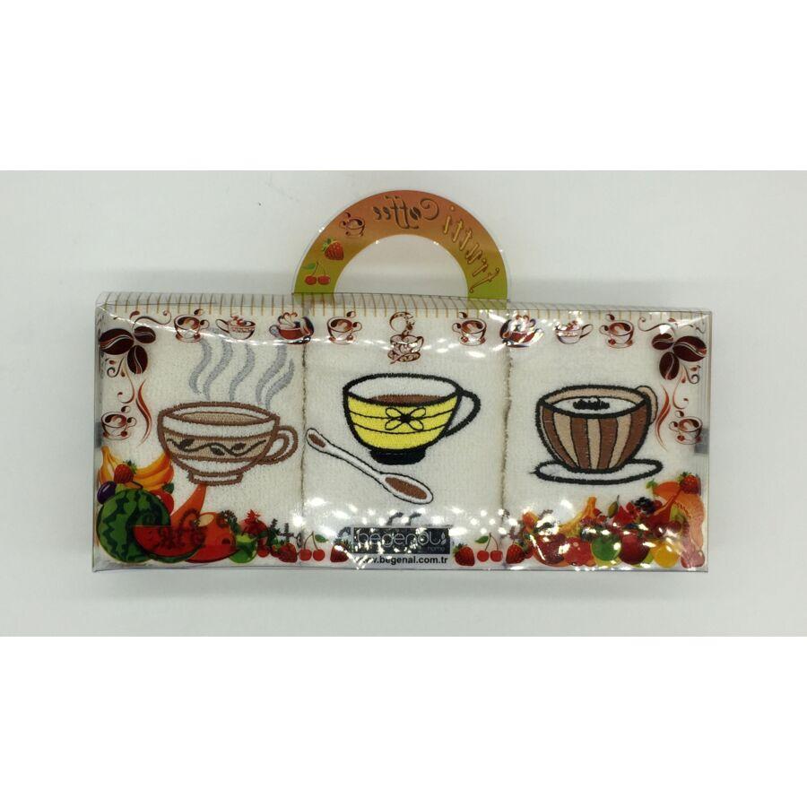 Kéztörlő 30x50 cm hímzett kávé mintával, 3 db-os