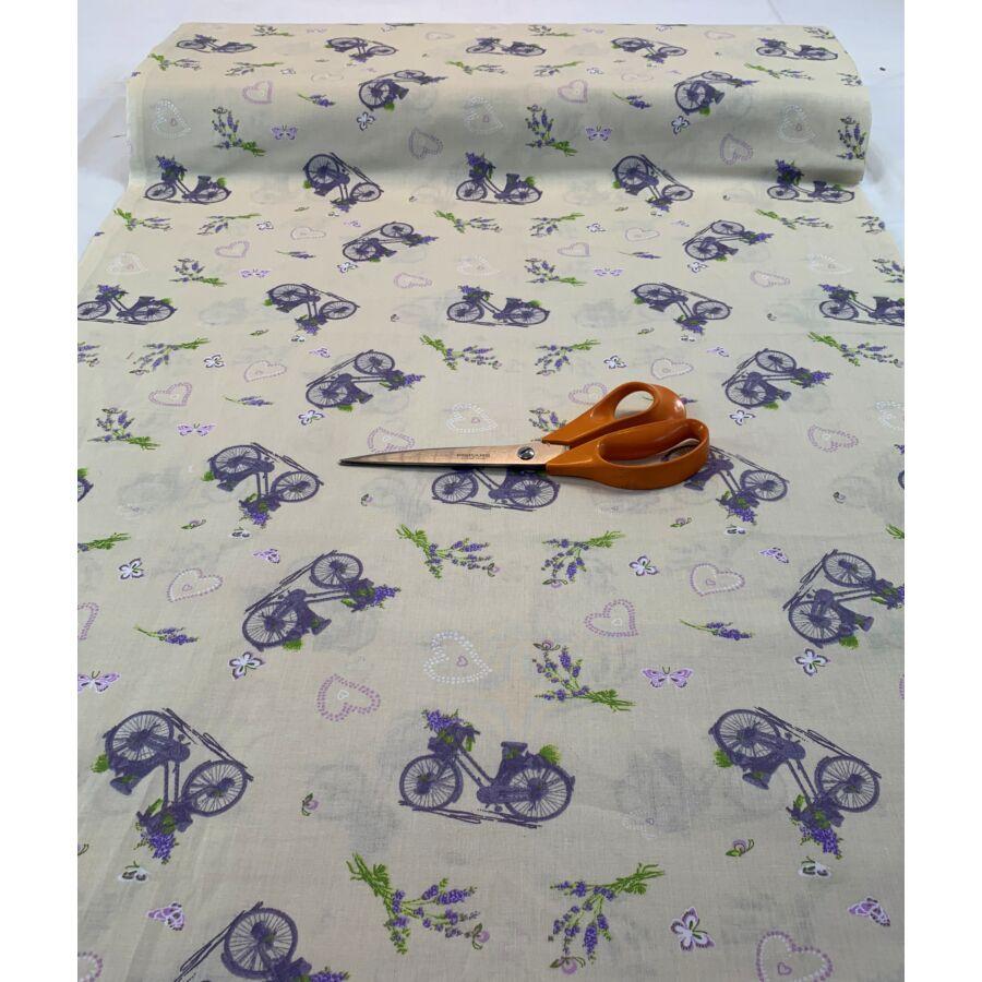 Pamut vászon - levendula bicikli