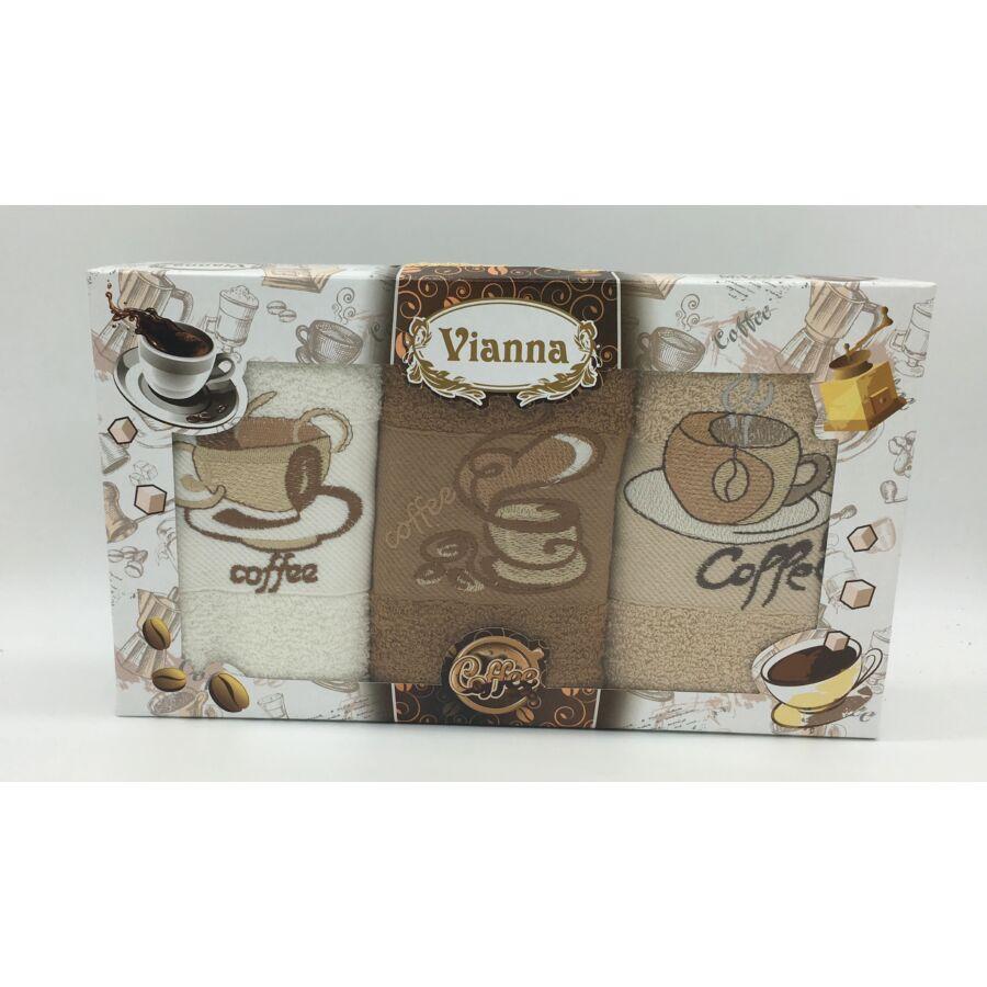 Kéztörlő 30x50 cm hímzett  3 db-os coffee