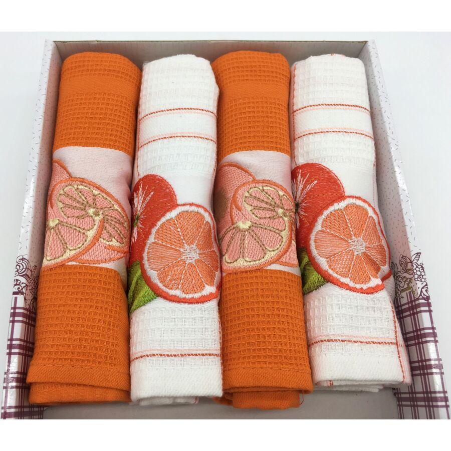 Konyharuha Narancs-fehér , 4 db-os Narancs