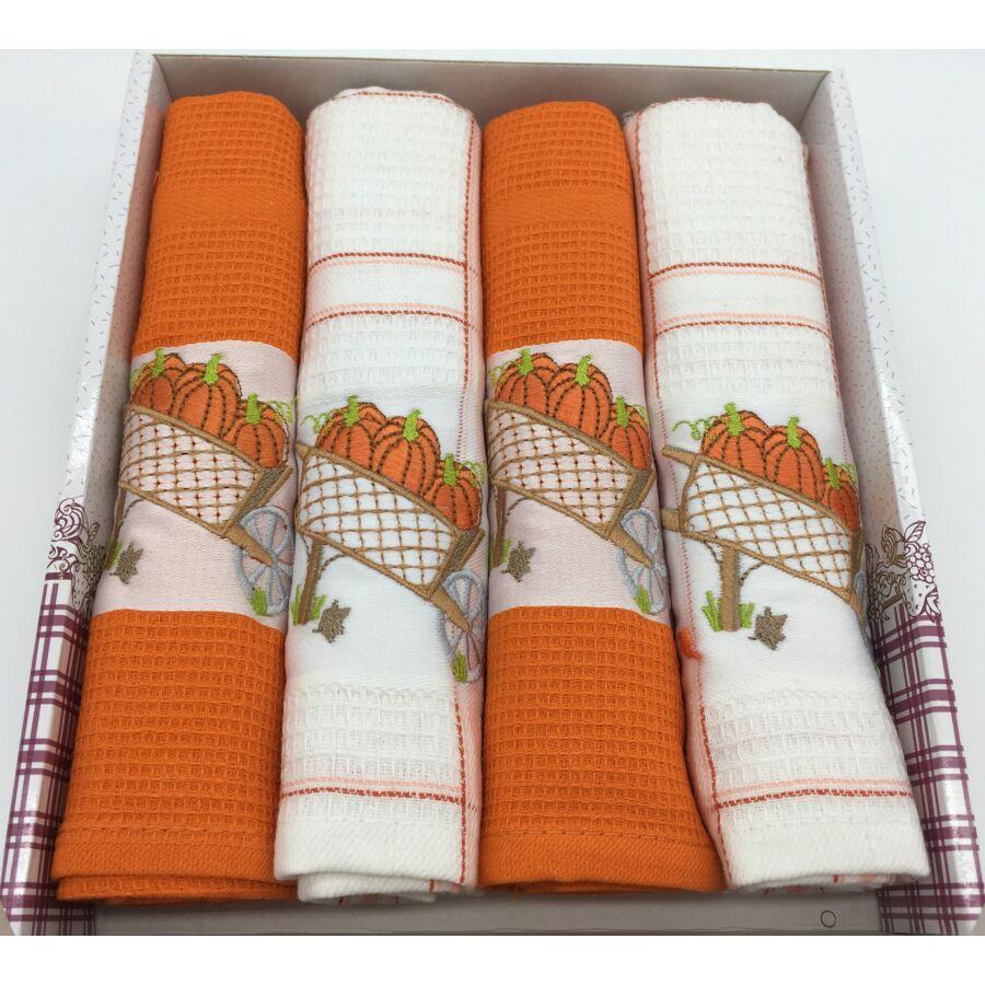 Konyharuha Narancs-fehér , 4 db-os Tökök