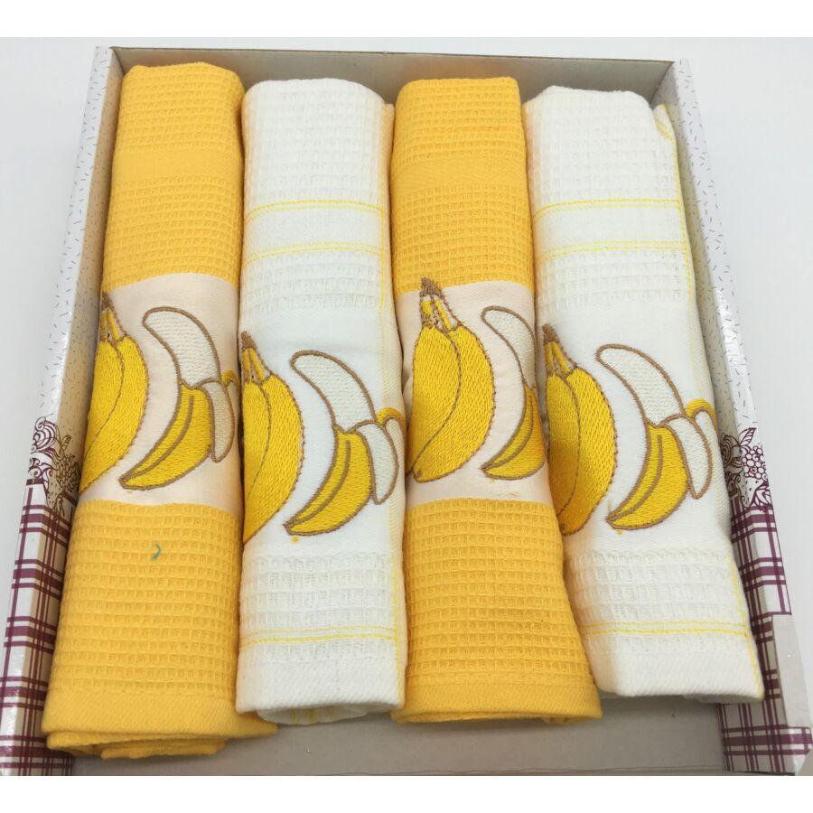 Konyharuha Sárga-fehér , 4 db-os Banán