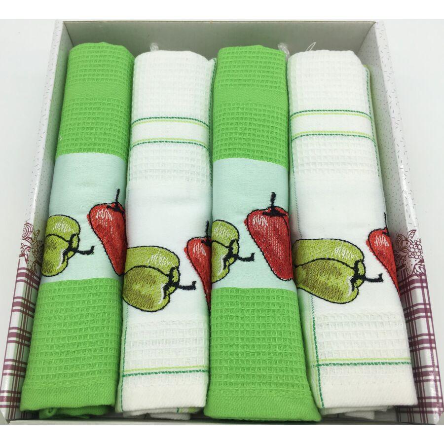Konyharuha Zöld-fehér 4db-os Paprika