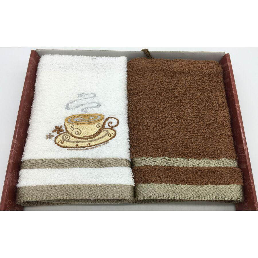 Kéztörlő barna-csésze, 2 db-os 40x60 cm