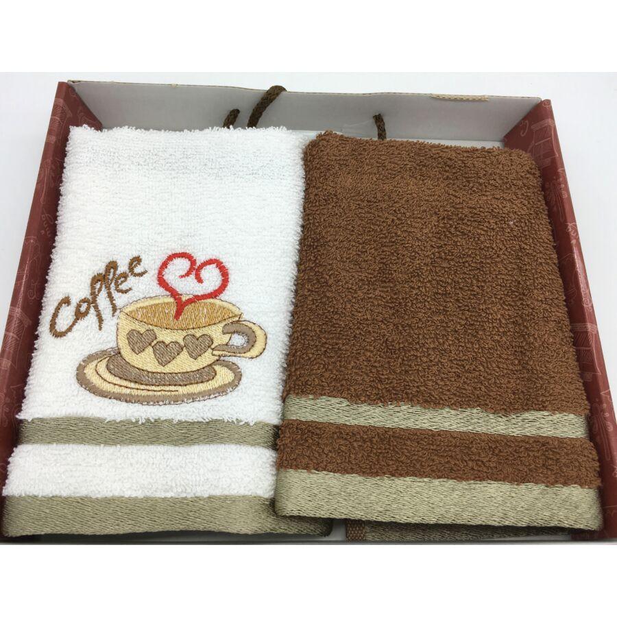 Kéztörlő barna coffee love, 2 db-os 40x60 cm