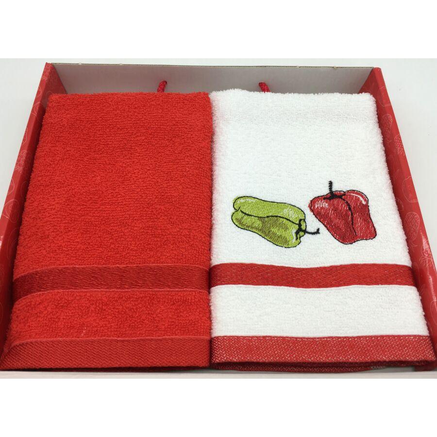Kéztörlő piros-paprika, 2db-os 40x60 cm