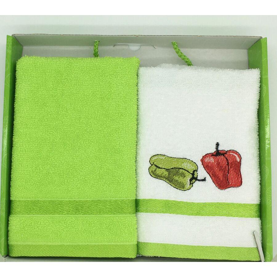 Kéztörlő zöld-paprika, 2-db-os 40x60 cm